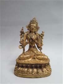 A gilt bronze figure of Tara