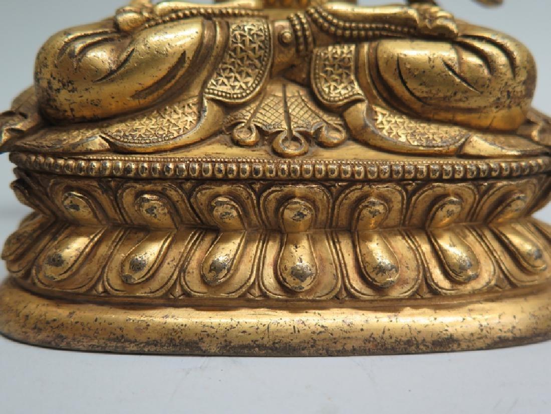 A gilt bronze figure of Manjushri - 5