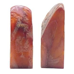 A FieldYellow Stone in red Scholar Seal