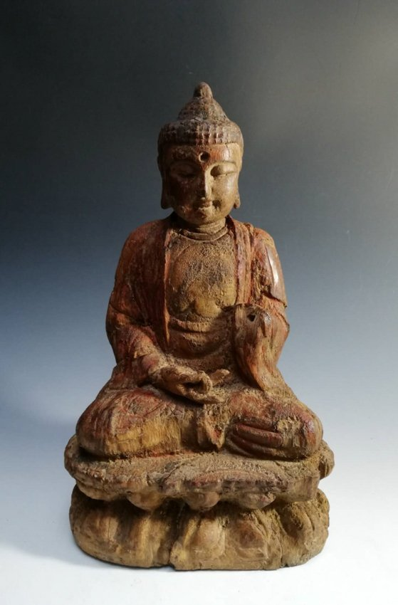Song / Yuan. Woodcarving bodhisattva statue