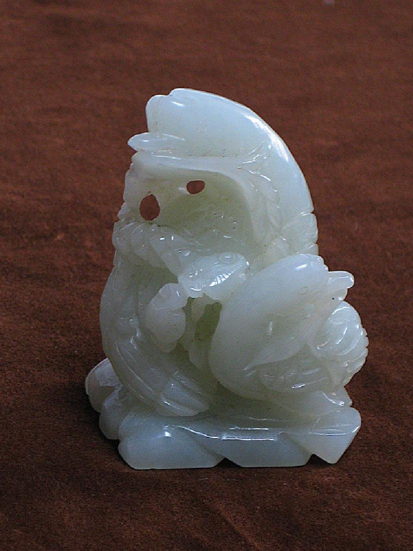 white jade Goose carved ornaments