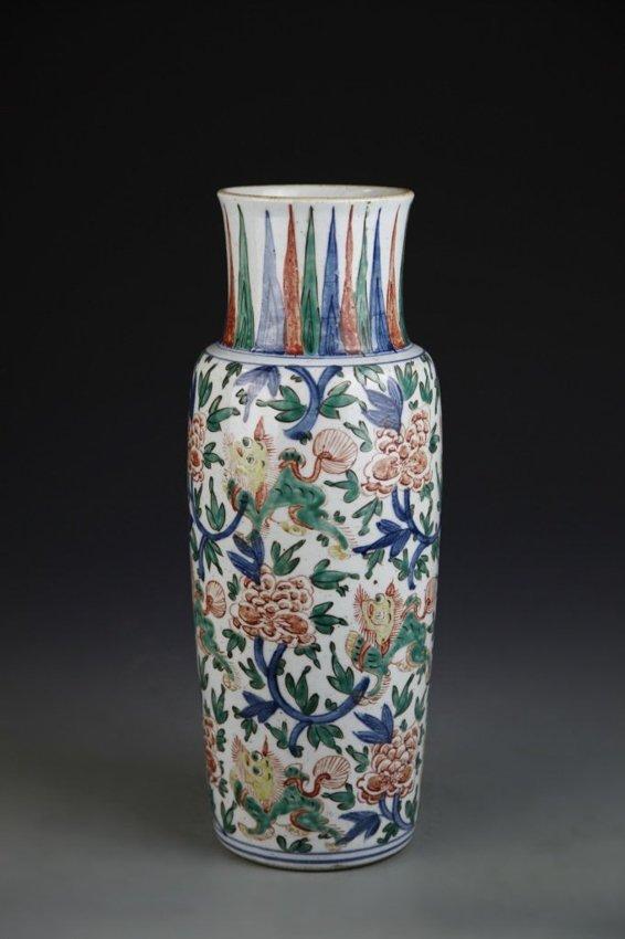 A Wu cai porcelain vase