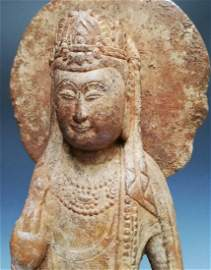 Early sui dyn(581-618}Han white marble Guan yin figurin