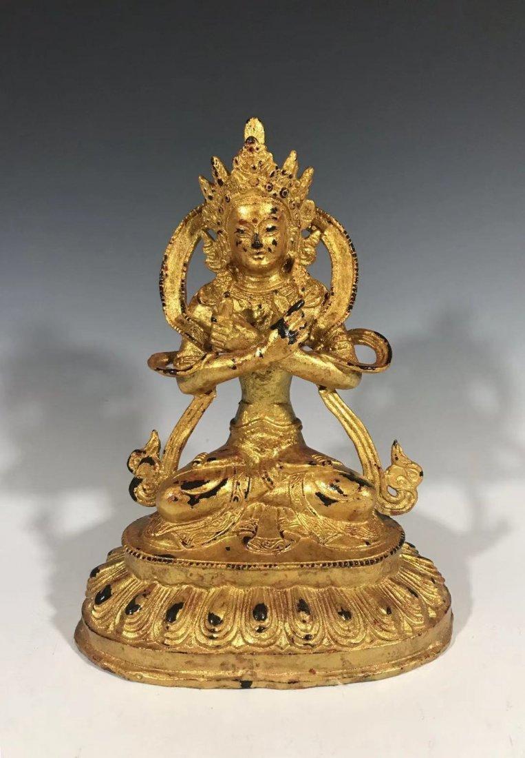 An excellent gilts bronze seat Buddha