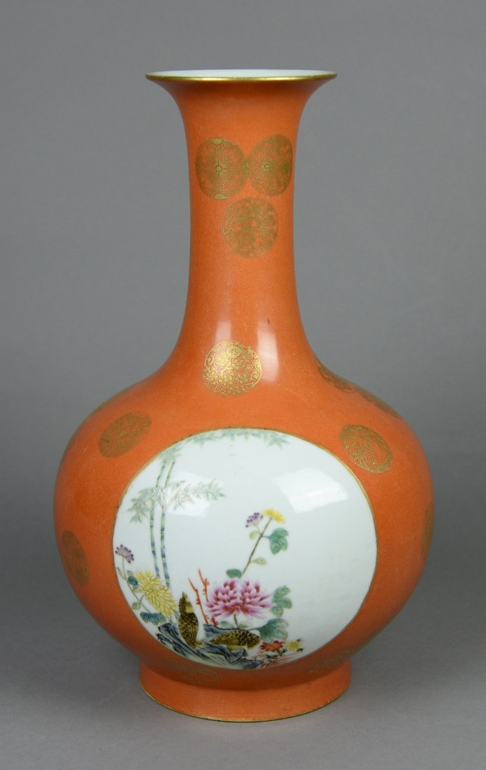 A famille rose vase with flower and bird.