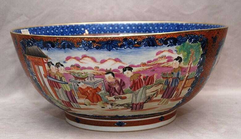 18th/19th C. Export punch bowl, multi-figures,