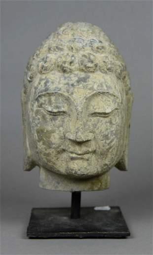A limestone Buddha head