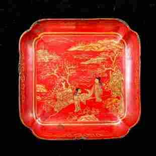A GILE-INLAID RED LACQUER BOX AND COVER 4 IN ONE LOT