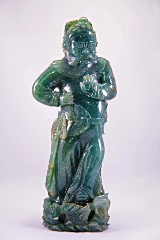 A JADEITE FIGURE OF GENERAL ZHANG-FEI FROM THREE