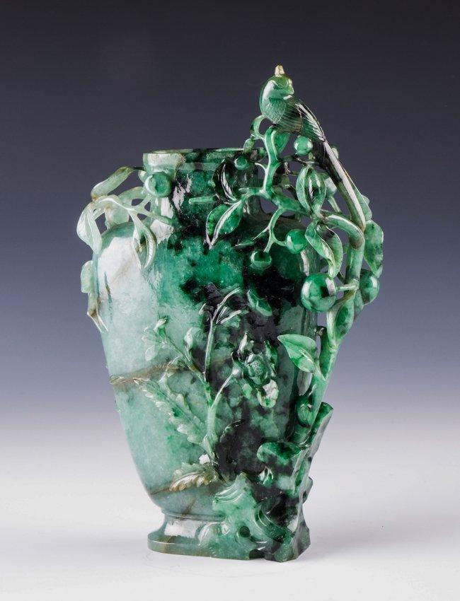 a carved jadeite vase