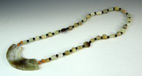 Chinese Jade Necklace With Coral Beads