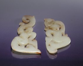 Pair Of White Jade Carved Figures