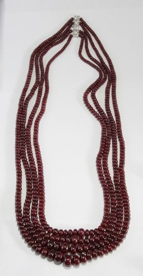 Long Multi-strand Ruby Necklace