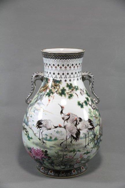 A Famille Rose Vase Decoration w/six Cranes