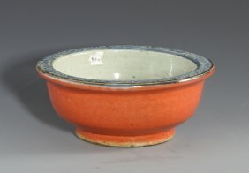 A Blue And White Coral Red Bowl