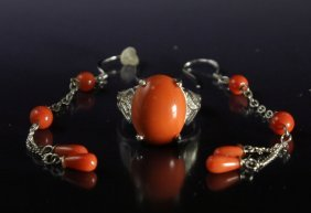 Coral Jewelry Sets (ring & Earrings)