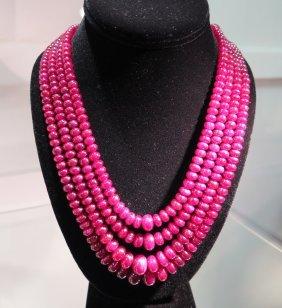 Long Multi-strand Ruby Necklace