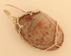 Fossilized Coral Wrap Pendant