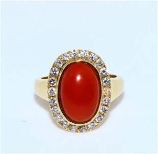 Coral Inlaid Diamond Ring 14k gold