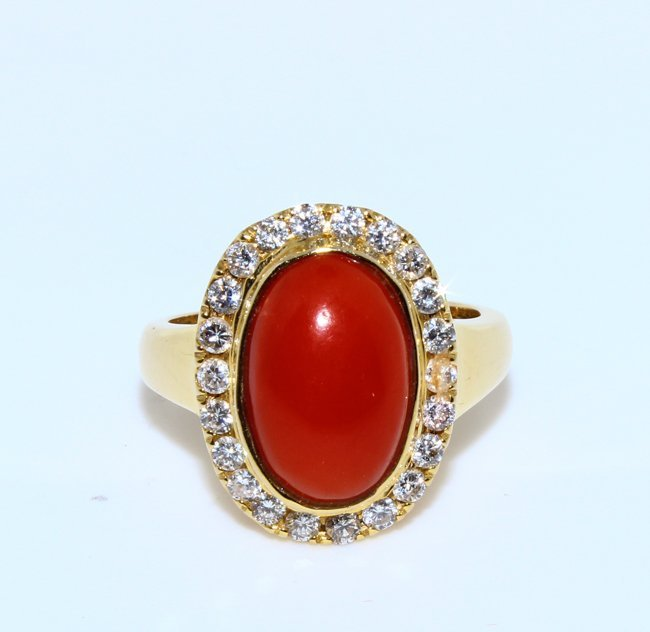 Coral Inlaid Diamond Ring 14k gold