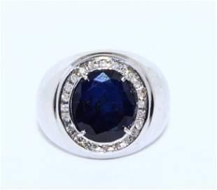 Sapphire Inlaid Diamond Ring 14k gold