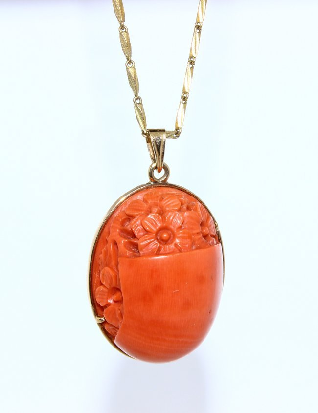 Coral Pendant with Necklace
