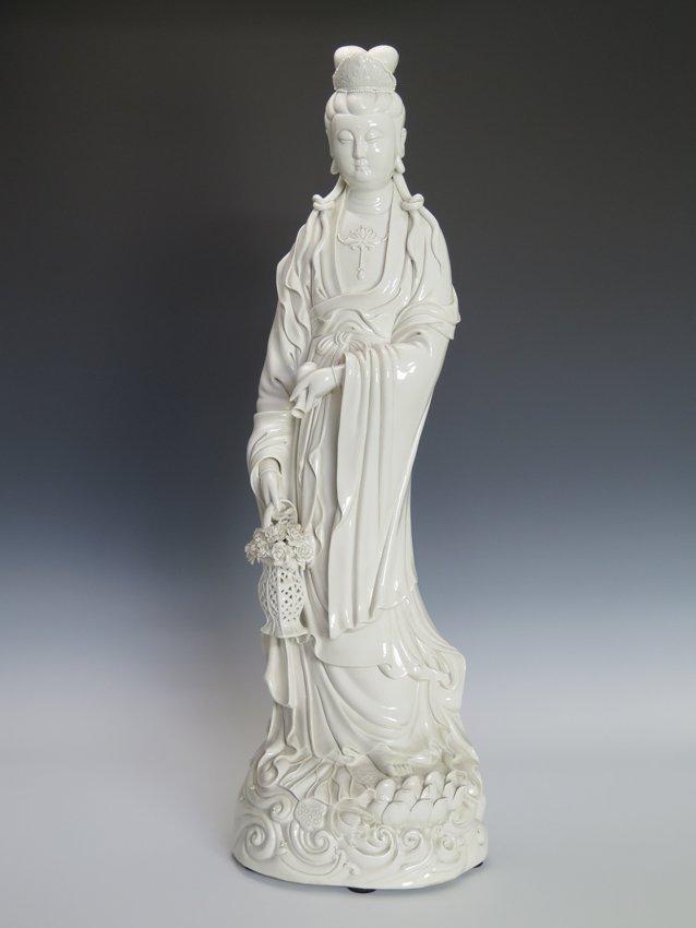 A standing Blanc-De-Chine Figure fo Guanyin