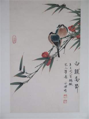 An ink colour on painting scroll by Tan se guang