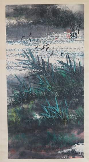Ink and colour on paper hanging scroll