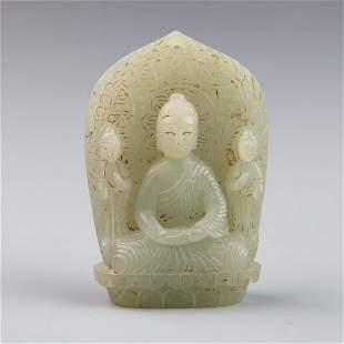 A light greenish white jade of shakyamuni