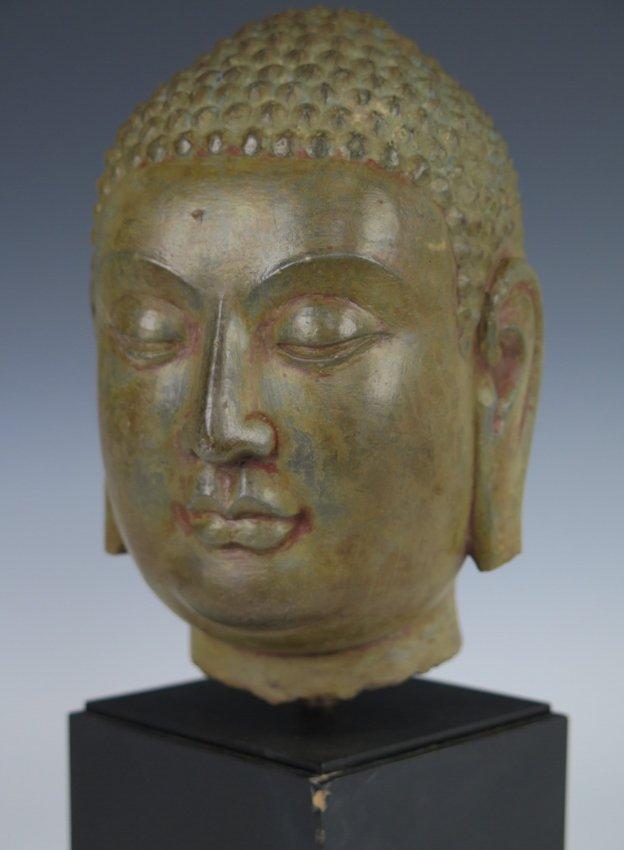 A stone head of Buddha head, Yuan dynasty