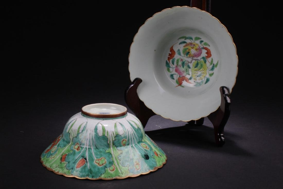 Two Estate Chinese Porcelain Plates
