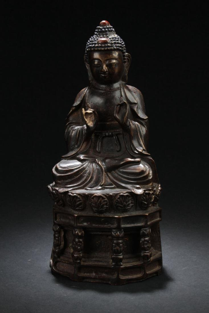 A Chinese Copper-craft Word-decorating Buddha Statue
