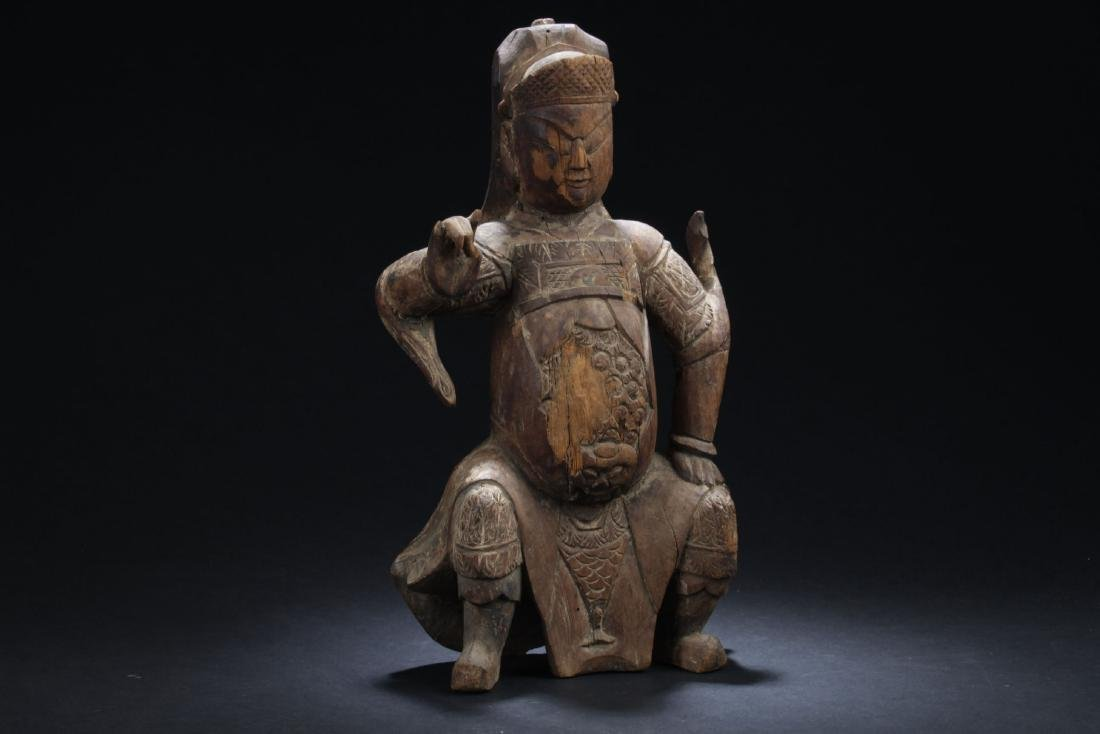 An Estate Chinese Wood-curving Buddha Statue