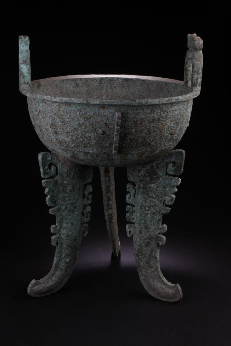 An Estate Chinese Tri-podded Bronze Vessel