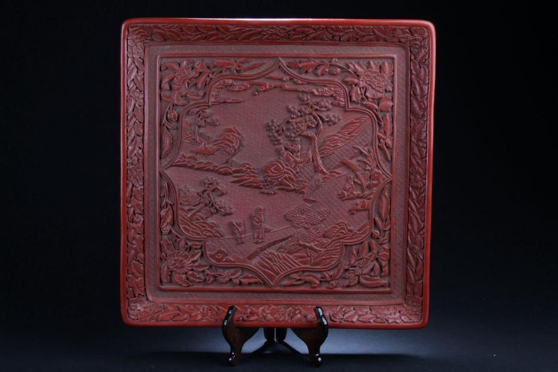 An Estate Mountainview Square Lacquer Plate