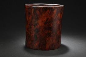An Estate Chinese Hardwood-curving Brush Pot