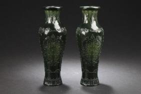 Two Chinese Estate Spinach Jade-curving Vases