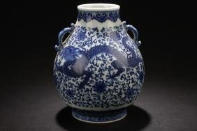 A Duo-handled Chinese Dragon-decorating Porcelain Vase