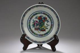 A Chinese Porcelain Peach-Decorating Plate