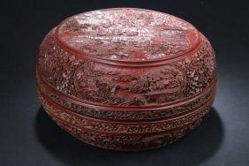 A Temple-sceen Chinese Estate Lacquer Box