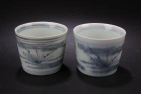 Two Chinese Estate Porcelain Cups