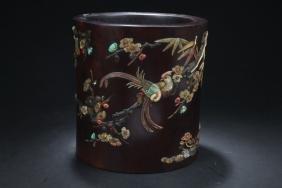 An Estate Chinese Hard-wood Brush Pot