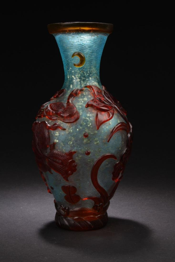 A Chinese Peking-glass Display Vase - 3