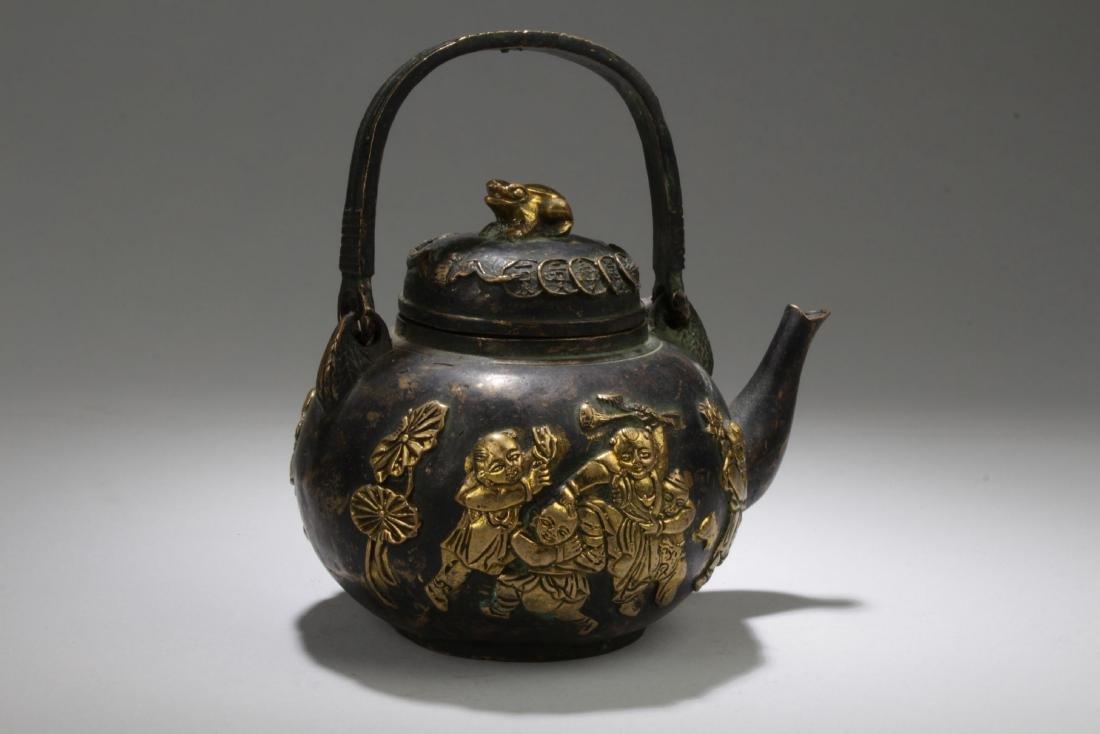 An Handled Chinese Bronze Tea Pot - 2