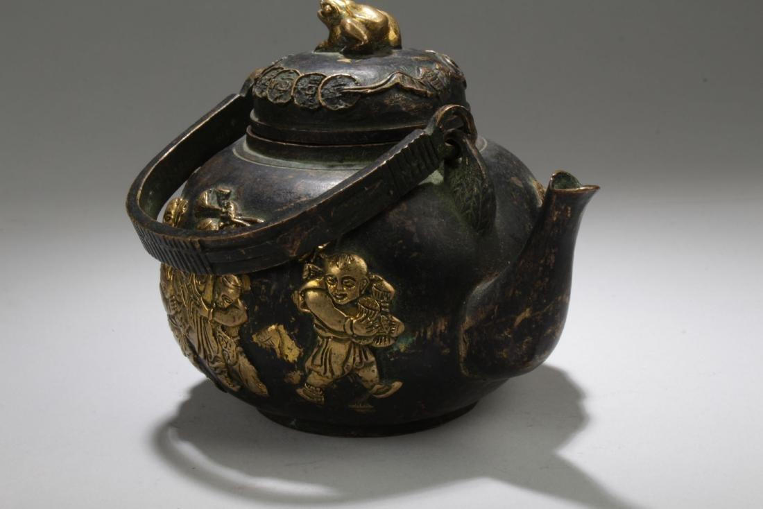 An Handled Chinese Bronze Tea Pot - 3