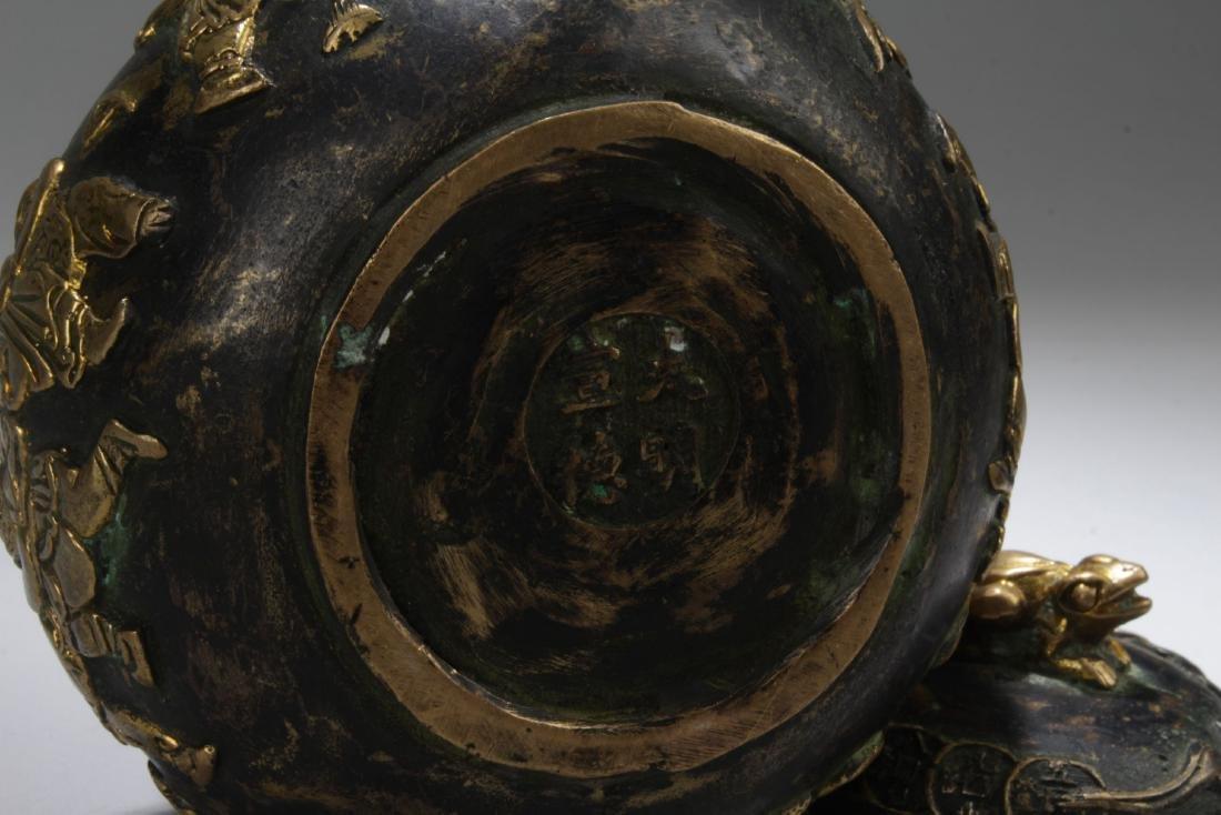 An Handled Chinese Bronze Tea Pot - 6