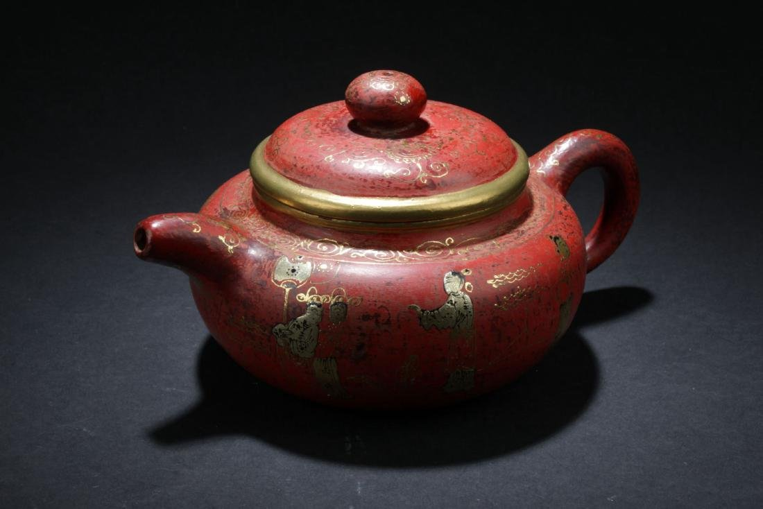 An Estate Chinese Story-telling Tea Pot