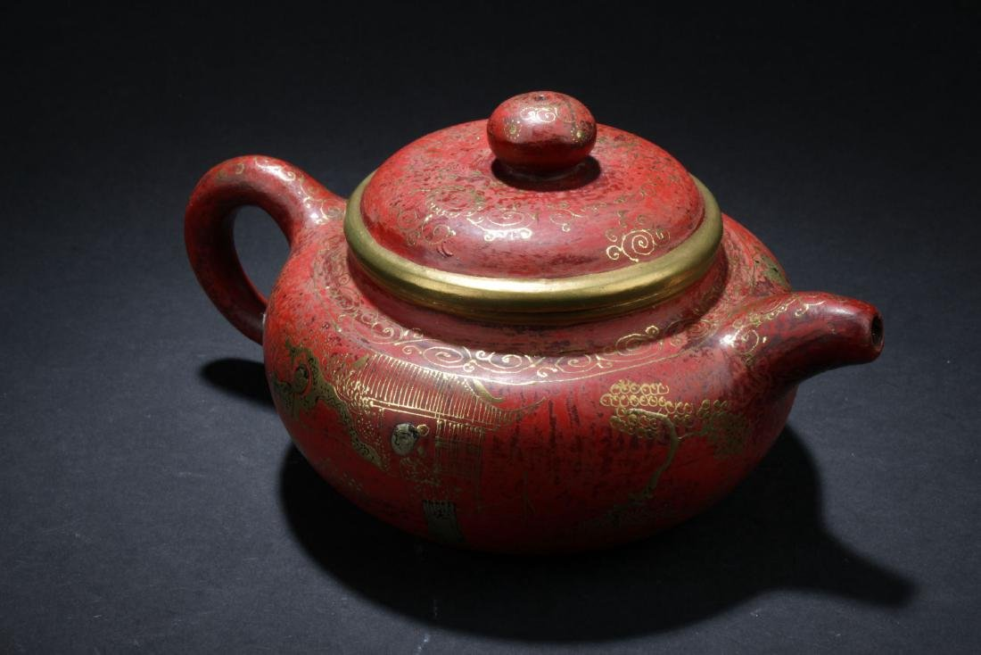 An Estate Chinese Story-telling Tea Pot - 2