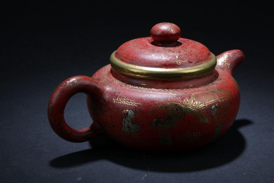 An Estate Chinese Story-telling Tea Pot - 3